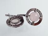 Серьги с розовым кварцем и фианитами, фото №7