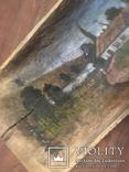 Корыто деревянное старинное с росписью Хата и пейзаж, фото №3