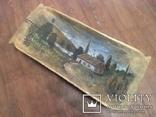 Корыто деревянное старинное с росписью Хата и пейзаж, фото №10