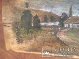 Корыто деревянное старинное с росписью Хата и пейзаж, фото №13