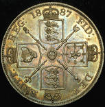 Великобритания двойной флорин 1887 Unc серебро
