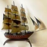 Парусное судно. Модель 40х40 кость