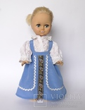Кукла блондинка в голубом платье с вышивкой., фото №2
