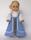 Кукла блондинка в голубом платье с вышивкой., фото №3