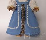 Кукла блондинка в голубом платье с вышивкой., фото №5