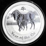 Серебряная монета Австралии 1 доллар 2009 г. Год Быка