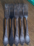 5 вилок мельхиор, фото №2