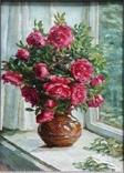 """ЗХР Серов В.В. (млд), """"Красные розы"""" (48 х 35.5 / 57 х 44.5), х/м"""