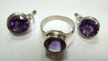 Комплект, серьги и кольцо с аметистом. Аметист в серебре.