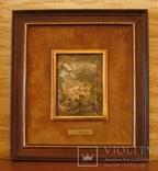 Антикварная испанская миниатюра Россо середины 20 века в деревянной раме. Эмаль, масло.