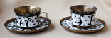 Две кофейные пары. Серебро, эмаль. 276 грамм.
