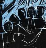 В. Лобода. Світло ночі сліпить очі... 1986. Лінорит. 13,4х19,9; лист 18,2х23,7 photo 2