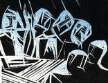 В. Лобода. Світло ночі сліпить очі... 1986. Лінорит. 13,4х19,9; лист 18,2х23,7 photo 3