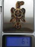 Фибула Сокол, AU, перегородчатая эмаль photo 10
