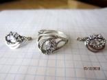Кольцо и серьги серебро 925 цирконий, фото №2