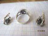 Кольцо и серьги серебро 925 цирконий, фото №4