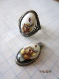 Кольцо и кулон мельхиор финифть, фото №3
