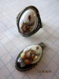 Кольцо и кулон мельхиор финифть, фото №4