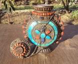 Серебряная бутылка с кораллом и лазуритом., фото №2