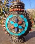 Серебряная бутылка с кораллом и лазуритом., фото №6