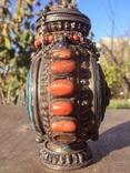 Серебряная бутылка с кораллом и лазуритом., фото №7