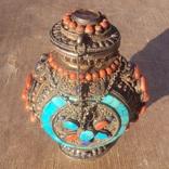 Серебряная бутылка с кораллом и лазуритом., фото №8