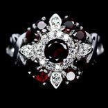 Кольцо серебряное 925 натуральный красный гранат, цирконий.