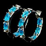 Серьги серебряные 925 натуральный голубой апатит.