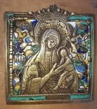 """Бронзовая литая икона,, Богоматерь Страстная """" 5 эмалей 19 век."""