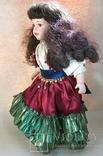 Кукла фарфоровая коллекционная париковая Цыганка 43 см, фото №4