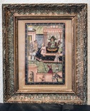 Античная персидская картина на шёлке. В раме под стеклом