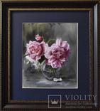 Розы в стеклянной вазе, фото №2