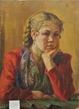 Портрет девушки х.м. 1954г, фото №3