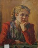 Портрет девушки х.м. 1954г, фото №4