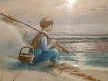 Маленький рыбак. 24*30. Подпись автора. Европа. Холст