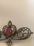 Брошь 56пр. С рубином и алмазами. photo 2