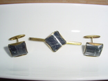 Запонки и зажим для галстука с натуральным камнем. 60-е годы