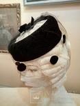 Женская шляпка. Черный фетр. Вуаль с крупными ''мушками '', фото №2