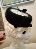 Женская шляпка. Черный фетр. Вуаль с крупными ''мушками '', фото №4