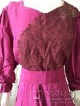 Крепдешиновое платье ярко малиновое 1950 год., фото №3
