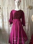 Крепдешиновое платье ярко малиновое 1950 год., фото №6