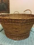 Антикварная большая корзина 1900 год.красивое плетение, фото №3
