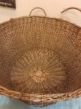 Антикварная большая корзина 1900 год.красивое плетение, фото №4