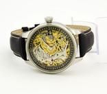 Часы наручные марьяж скелетон OMEGA нержавеющая сталь, гравировка женщина photo 2