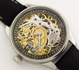 Часы наручные марьяж скелетон OMEGA нержавеющая сталь, гравировка женщина photo 4