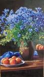 Полевые цветы и персики,холст акрил на подрамнике 80*45, Аксенов Константин