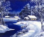 Картина, Зимняя ночь, 25х30 см. живопись, холст, с подписью, отличный подарок, декор
