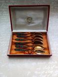 Ложки чайные серебро 875 пробы с позолотой цветная эмаль СССР