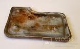 Старинная чугунная пепельница с эмалью, охотниья тема. Собкака, ветка дубовых листьев. photo 8