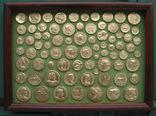 Золотые монеты империй античности. Копии со стеклом, 37х27см.
